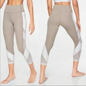 Athleta Exhale Capri Tan & White Mesh Leggings L